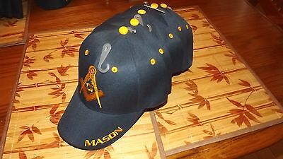 6  Embroidered Masonic Blue Caps Hat Square & Compasses New