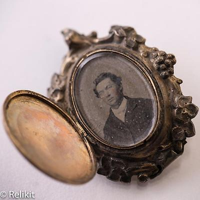 Antique Mourning Brooch Locket Victorian Photo 12K and Sterling Silver Handmade