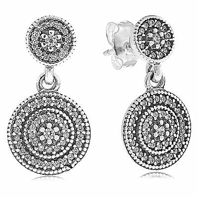 Solid 925 Silver Sterling RADIANT ELEGANCE DROP SPARKLING EARRINGS+ gift box