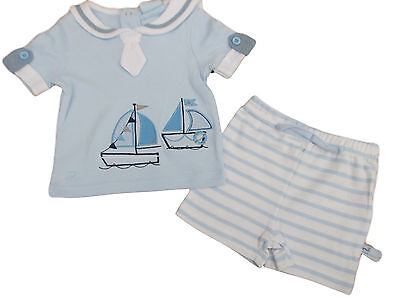 BNWT Baby Boys blue summer sailing ship 2 piece T-shirt and shorts Set clothes