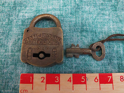 Excellent Vintage Brass Fully Working Padlock & Key By American Lock