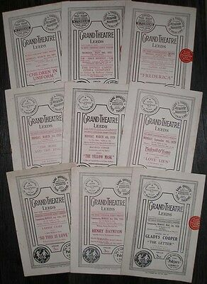Grand Theatre Leeds Programmes 1928-1933 Plays Musicals 9 Different Productions