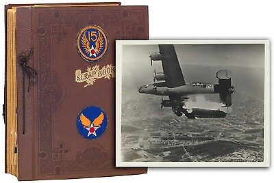 WWII Army 15th Air Force Grouping Photo Album Scrapbook+Uniform 464th Bomb Group