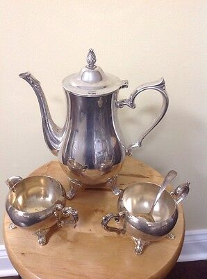 Vintage Silverplate I.S. Co.  Teapot, Creamer and Open Sugar Bowl w Spoon