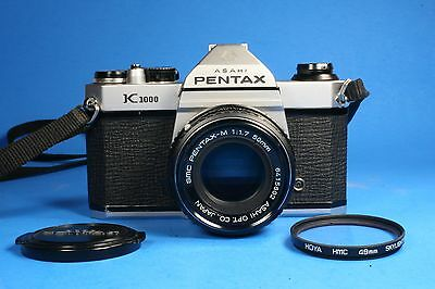 Asahi Pentax K1000 35mm SLR Film Camera Body with Pentax-M 50mm 1:1.7 Lens