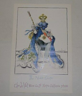 Clos du Val Wine Ronald Searle 1981 Two Art Posters