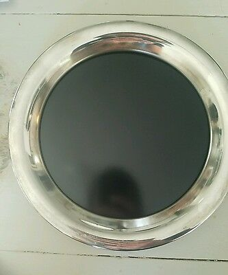 Vintage Eales 1779 Silver plate black Formica Oval  Serving Tray made in italy