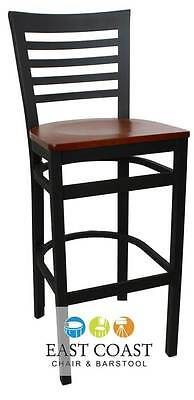 New Gladiator Full Ladder Back Restaurant Bar Stool with Cherry Wood Seat
