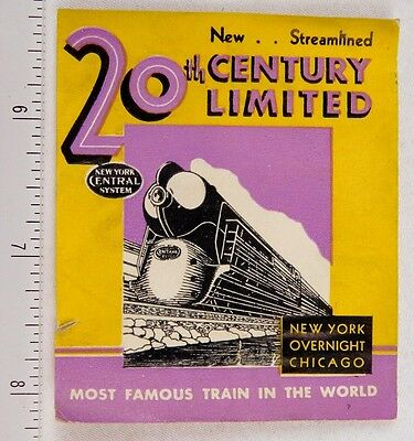 Streamlined 20th Century Limited Art Deco Poster Stamp Label Luggage P312