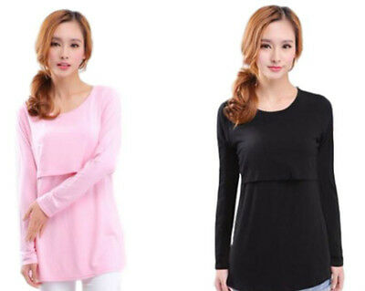 New Nursing Breastfeeding Cotton T-Shirt Long sleeves tops UK 8-14