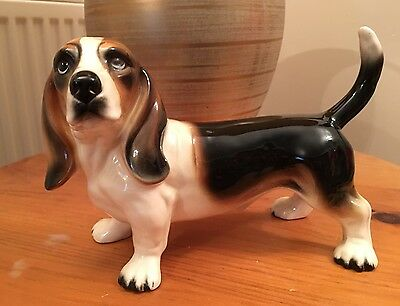 Vintage Large Ceramic Basset Hound Dog Figurine