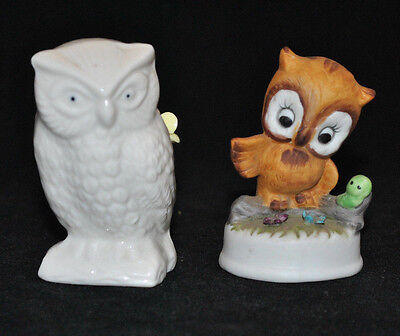 Vintage Owl Set Napcoware And Ardalt Pin Cushion Green Caterpillar Porcelain