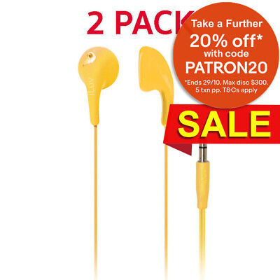 2PK iLuv Yellow Bubble Gum 2 Earphones/Headphones In-Ear for iPhone/Android/iPod