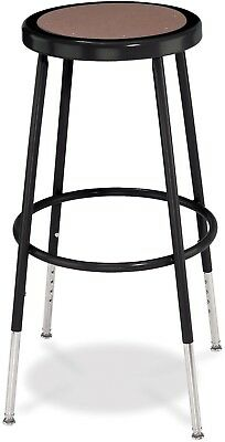 National Public Seating Sturdy Adjustable Height Black Round Seat Stool