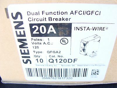 Case of 10 - SIEMENS ITE Q120DF Dual Function Arc Fault / Ground Fault BREAKERS