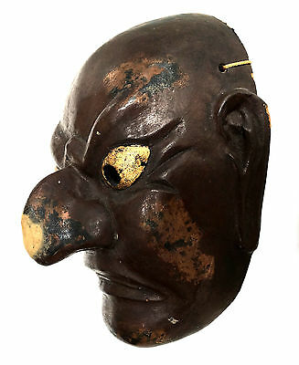 JAPANESE NOH Edo Period Demon Mask Carved Japan XIX Theatre Play