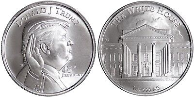 Donald J. Trump 45th President - The White House 1 oz .999 Silver BU Round Coin