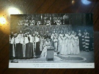The Queen Takes Her Seat in The Chair of State Coronation postcard 1953 unused