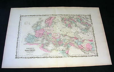1862 Antique Original Johnson's Hand-Colored Map depicting THE ROMAN EMPIRE