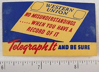 1930's-40's Western Union Telegram Poster Stamp Luggage Label #2 P312