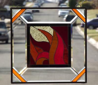 """•Burning LOVE • Beveled Stained Glass Window Panel • 21 ¾""""x 21 ¾"""" ( 55cm)"""