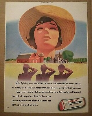 1943 Wrigleys Spearmint Chewing Gum Ad American Farmers Wives