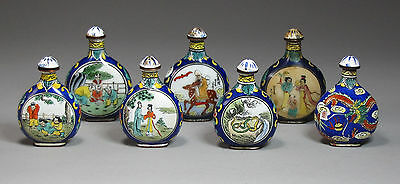 An Old Antique Group of 7 Fine Chinese Enameled/Painted Snuff Bottle