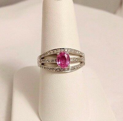 14 K White Gold 0.75 Ct Pink Sapphire & Diamond Ring. Size 7