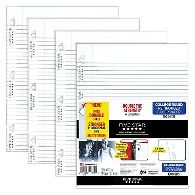 Five Star Filler Paper College Ruled Reinforced Loose Leaf Paper 11 x 8.5""