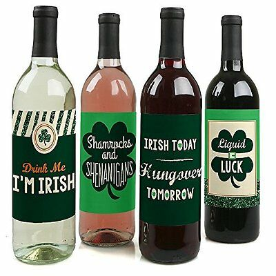 St. Patricks Day Wine Bottle Labels Super Gift Decor Party Happy St.Patricks Day