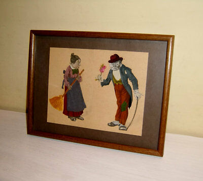 Antique Paper Doll Fabric Folk Art Collage Courting Whimsical Frame Primitive