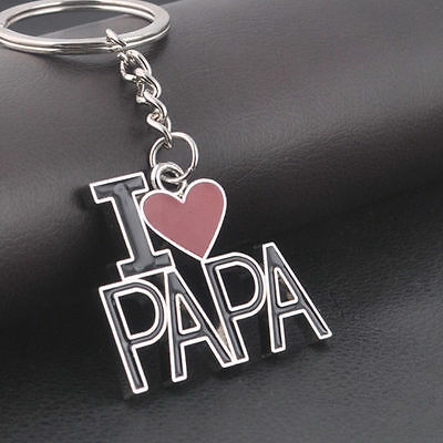 Heart I Love Papa Dad Daddy Father Keychains Keyrings Key Chains Family Men Gift