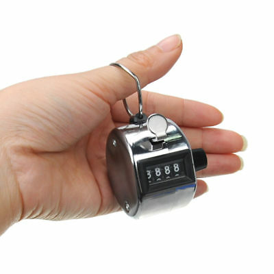 US STOCK Hand Tally Click Counter with 4 Digital Number Finger Display Silver