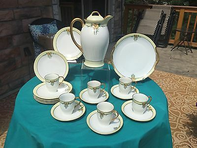 Hutschenreuther Selb Bavaria Chocolate Pot Set - Art Nouveau - 19 Pieces