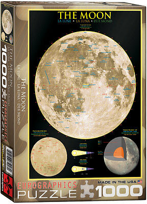 NIP Jigsaw Puzzle The Moon Eurographics 1000 Pieces Educational Poster Style
