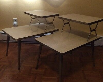 Vintage Mid Century Modern 2 End Side Tables Very Nice Formica