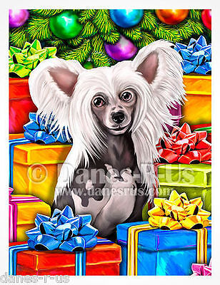 Chinese Crested Hairless Dog Open Gifts Christmas Greeting Note Cards Set 10