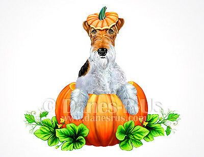 Wire Fox Terrier Pumpkin Halloween Dog Art Greeting Note Cards Set of 10
