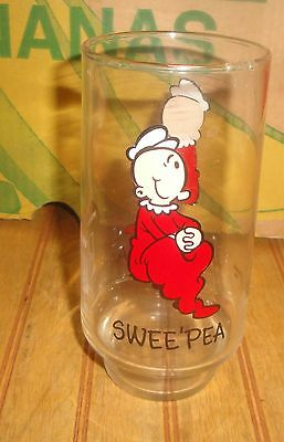Vintage Popeye Coca Cola Kollect A Set 1975 Promo SWEE' PEA Drinking Glass Sweet