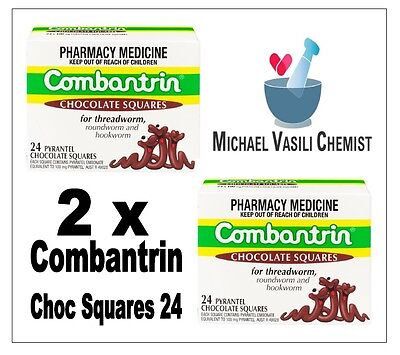 COMBANTRIN 2xBoxes 24 Chocolate Squares (48 Sqaures) De Worming Pyrantel 100mg