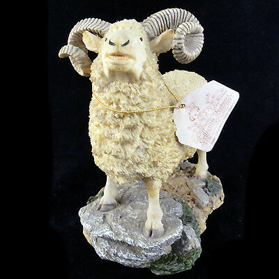 """MOUNTAIN GOAT Nature's Window Hand Painted Porcelain 5.8"""" tall NEW NEVER SOLD"""