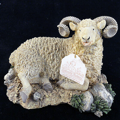 """MOUNTAIN GOAT Nature's Window Hand Painted Porcelain 4.5"""" tall NEW NEVER SOLD"""