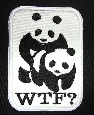 WTF  panda hump patch wwf panda foundation humor pandas Iron or Sew On Patch