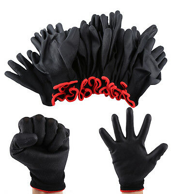 12 Pairs Black Nylon PU Coated Safety Work Gloves Safety Garden Grip Builders LJ