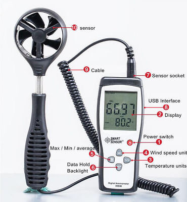 New Portable Digital LCD Display Split Type Anemometer Wind Speed Meter