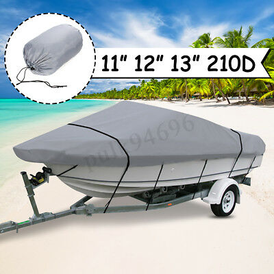 Heavy Duty 210D 11ft-13ft Trailerable Marine Grade Boat Cover Waterproof Grey