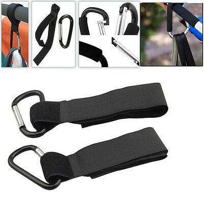 2Pcs Universal Buggy Mummy Pram Pushchair Carabiner Stroller Hook Shopping Bag
