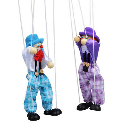 Pull String Puppet Clown Wooden Marionette Joint Activity Doll Vintage Child Toy