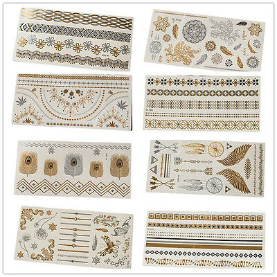 Gold Silver Metallic Temporary Tattoos Sticker Creative Body Art Tattoo WWS