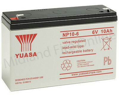 Yuasa Battery, Genuine, 6v / 10Ah Sealed Lead Acid Battery - NP10-6 FREE P&P